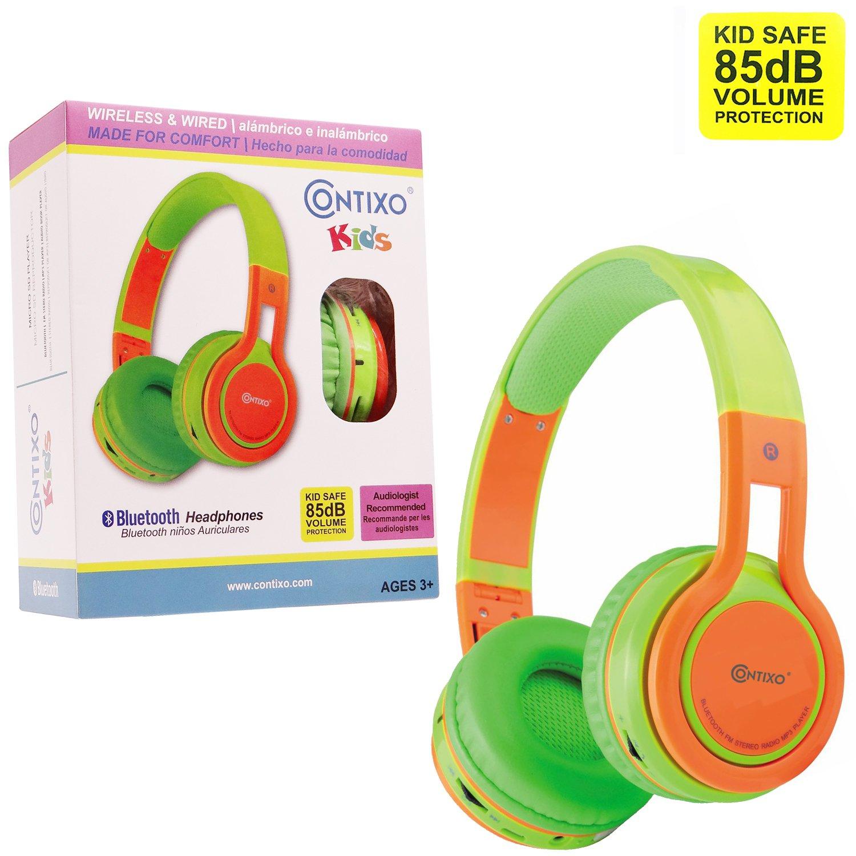 Amazon.com: Contixo KB2600 Kid Safe 85db Foldable Wireless Bluetooth Headphone Built-in Microphone, Micro SD Card Music Player, FM Stereo Radio (Green ...