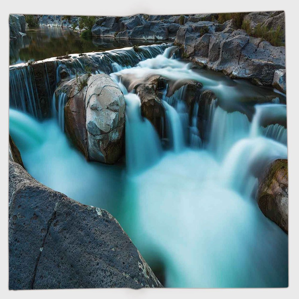 Cotton Microfiber Hand Towel,Landscape,Waterfall Basalt Rocks Rural Scenery National Park Nature Woods Photo,Sky Blue Grey Green,for Kids, Teens, and Adults,One Side Printing