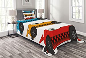 Lunarable Nursery Bedspread, Race Cars at Start Line Adrenaline Exotic Sports Championship Theme, Decorative Quilted 2 Piece Coverlet Set with Pillow Sham, Twin Size, Marigold Blue