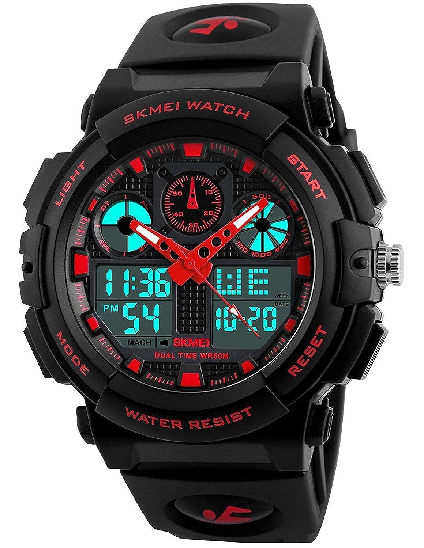 Para la práctica de deportes reloj Digital LED pantalla Dual tiempo cronógrafo militar de alarma resistente al agua reloj: skmei: Amazon.es: Relojes