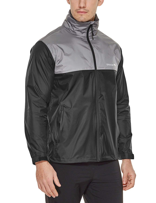 Baleaf Men's Rain Jacket Waterproof Front-Zip Raincoats Hideaway Hood Black/Grey XL by Baleaf