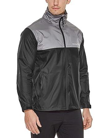 ba3a333bd Baleaf Men's Rain Jacket Waterproof Front-Zip Raincoats Hideaway Hood  Black/Grey S