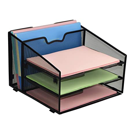rackarster mesh desk organizer desktop file organizer with 3 paper organizer letter tray and a