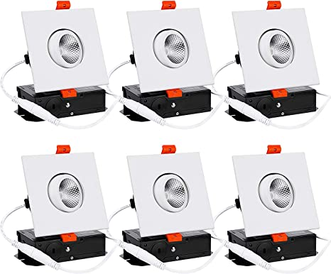 Torchstar 3 Inch Gimbal Led Recessed Lighting With Square Trim Dimmable Downlight With J Box 7w 50w Eqv Cri 90 3000k Warm White Etl Energy Star Ja8 T24 Certified White Pack Of 6 Amazon Com