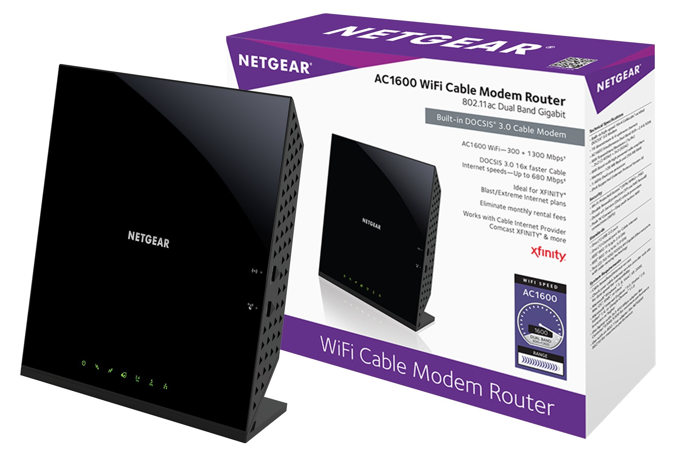 NETGEAR AC1600 (16x4) WiFi Cable Modem Router (C6250) DOCSIS 3.0 Certified for Xfinity Comcast, Time Warner Cable, Cox, & more by NETGEAR