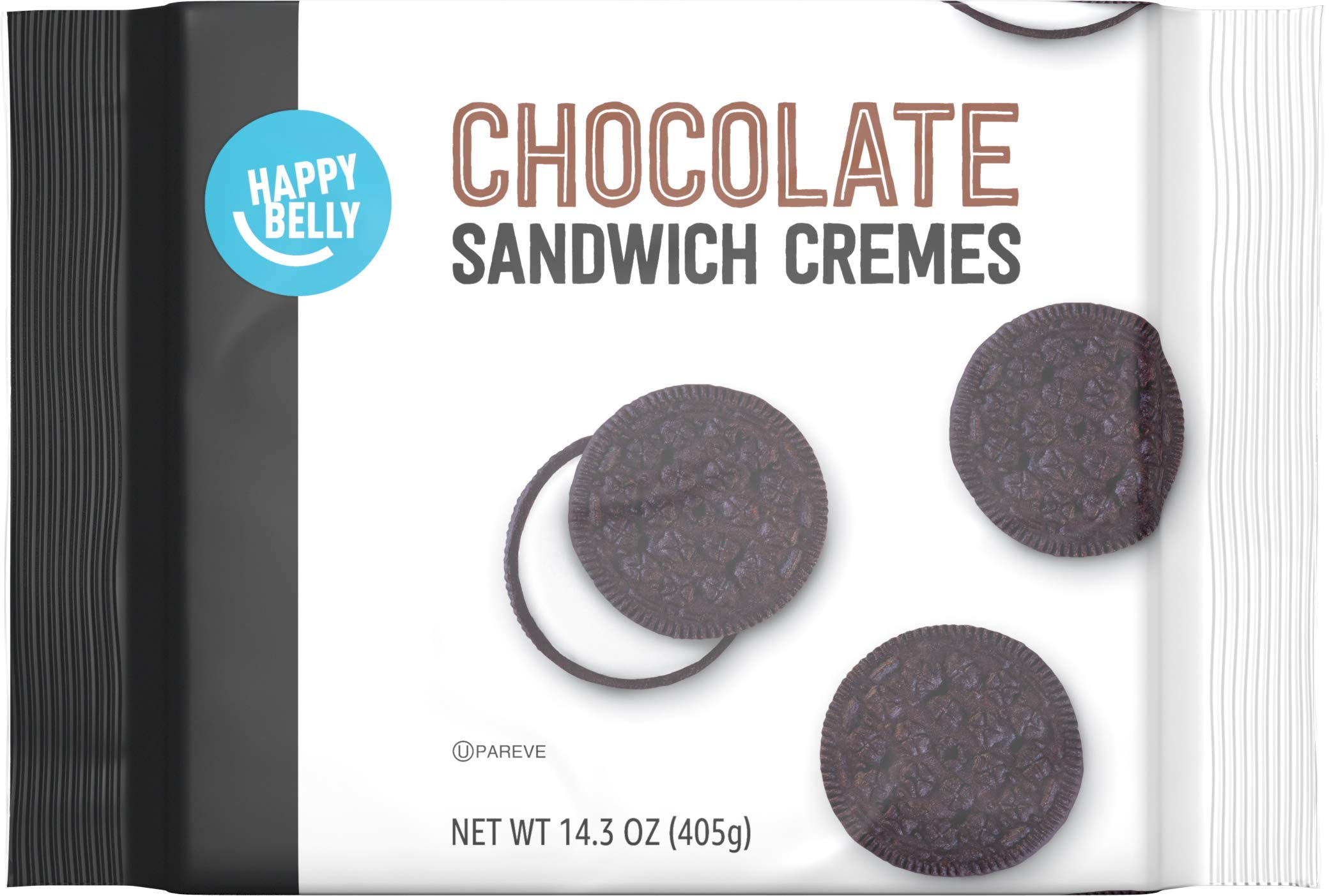 Amazon Brand - Happy Belly Chocolate Sandwich Crème Cookies, 14.3 Ounce