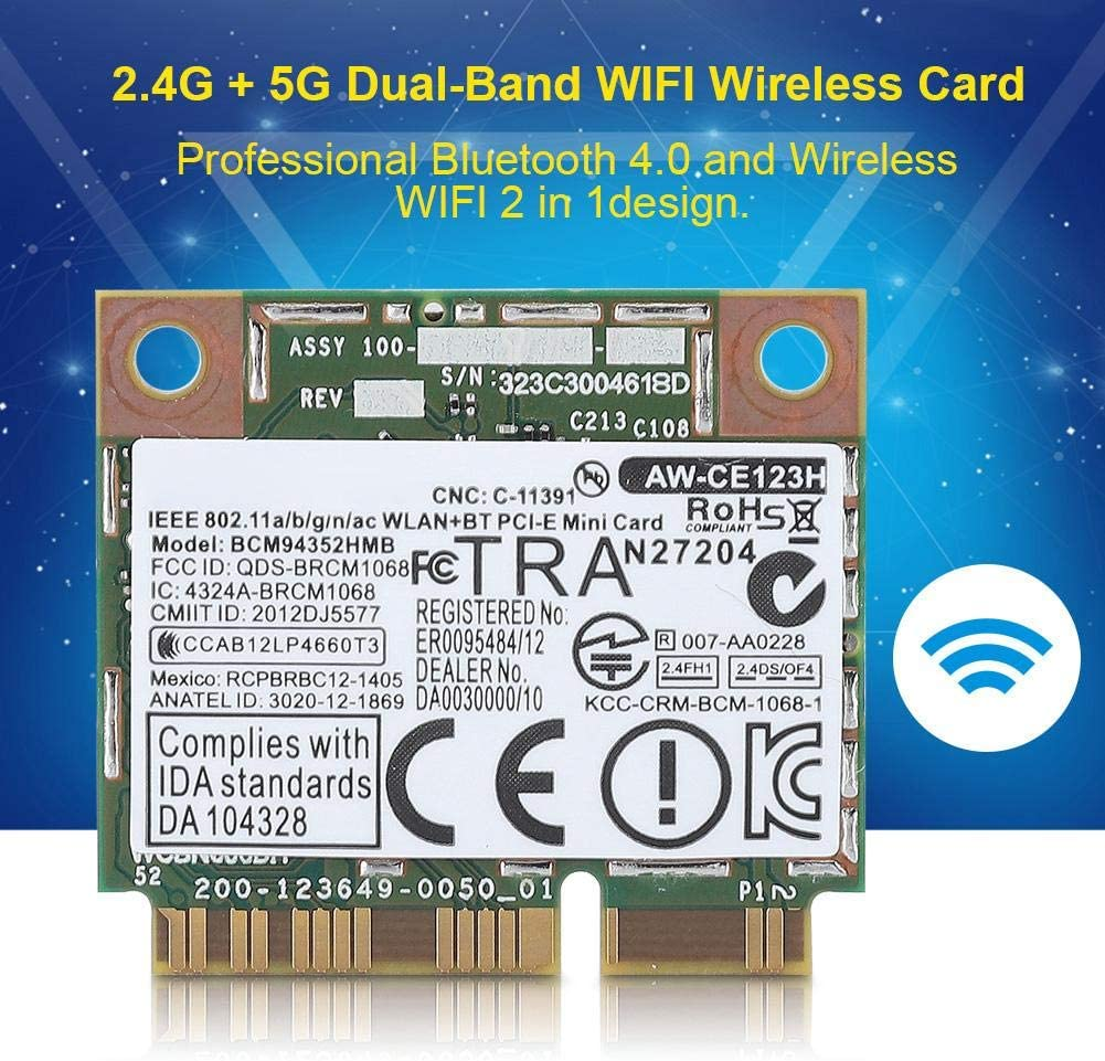 Dual Band 2.4 GHz//5GHz Bluetooth 4.0 Mini PCI-E Card Replacement Module Board Motherboard for GIGABYTE Tonysa Wifi Card Wireless WiFi Module for DELL//Asus//Acer//Lenovo//HP with Mini PCI-E slot
