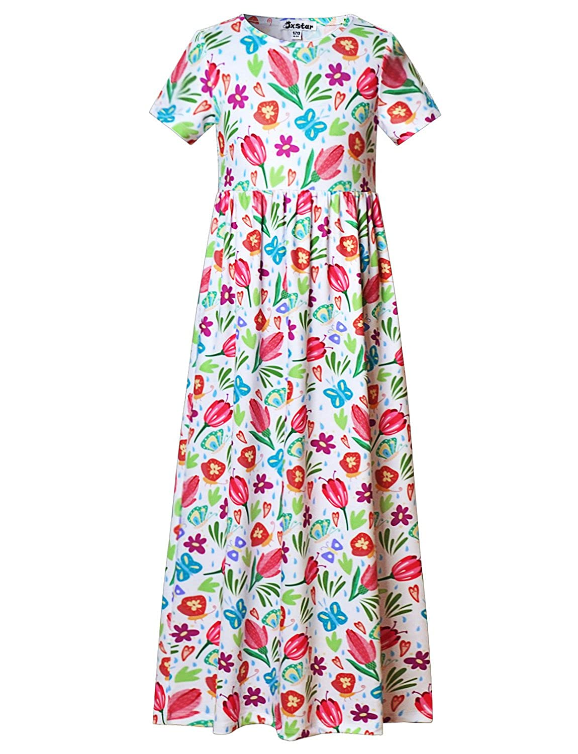 Girl Maxi Dress with Pockets Summer Floor Length Floral Sleeveless/Short Sleeve JXlongdress