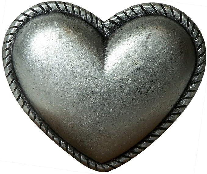 b89428510eab Fronhofer Boucle de ceinture coeur femme 4 cm coloris argent vieilli boucle  en forme de coeur