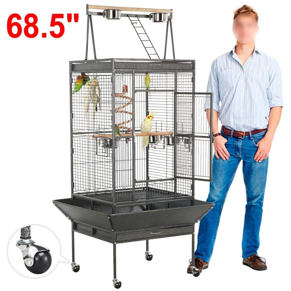 Yaheetech 69-inch Wrought Iron Rolling Large Bird Cages for African Grey Small Quaker Amazon Parrots Cockatiels Sun Parakeets Green Cheek Conures Doves Lovebirds Budgies Play Top Bird Cage with Stand by Yaheetech