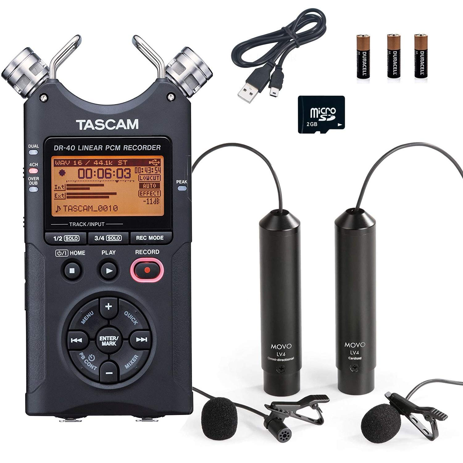Tascam DR-40 4-Track Handheld Digital Audio Recorder Bundle with Movo Omnidirectional and Cardioid XLR Lavalier Microphones