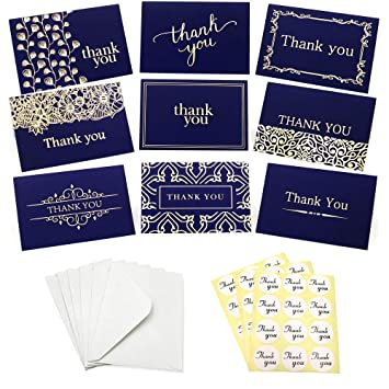 Amazon Com 36pcs Thank You Cards Thank You Notes 6 Style Navy Blue