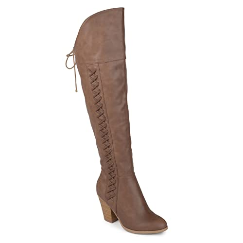 546b5429442 Journee Collection Womens Regular and Wide Calf Faux Lace-up Distressed  Over-The-Knee Boots