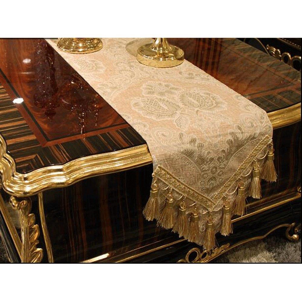 PRIDE S Beige Luxus Chenille Jacquard Anti-Rutsch Hotel Familie Dekoration Tischläufer (größe   30  240cm)