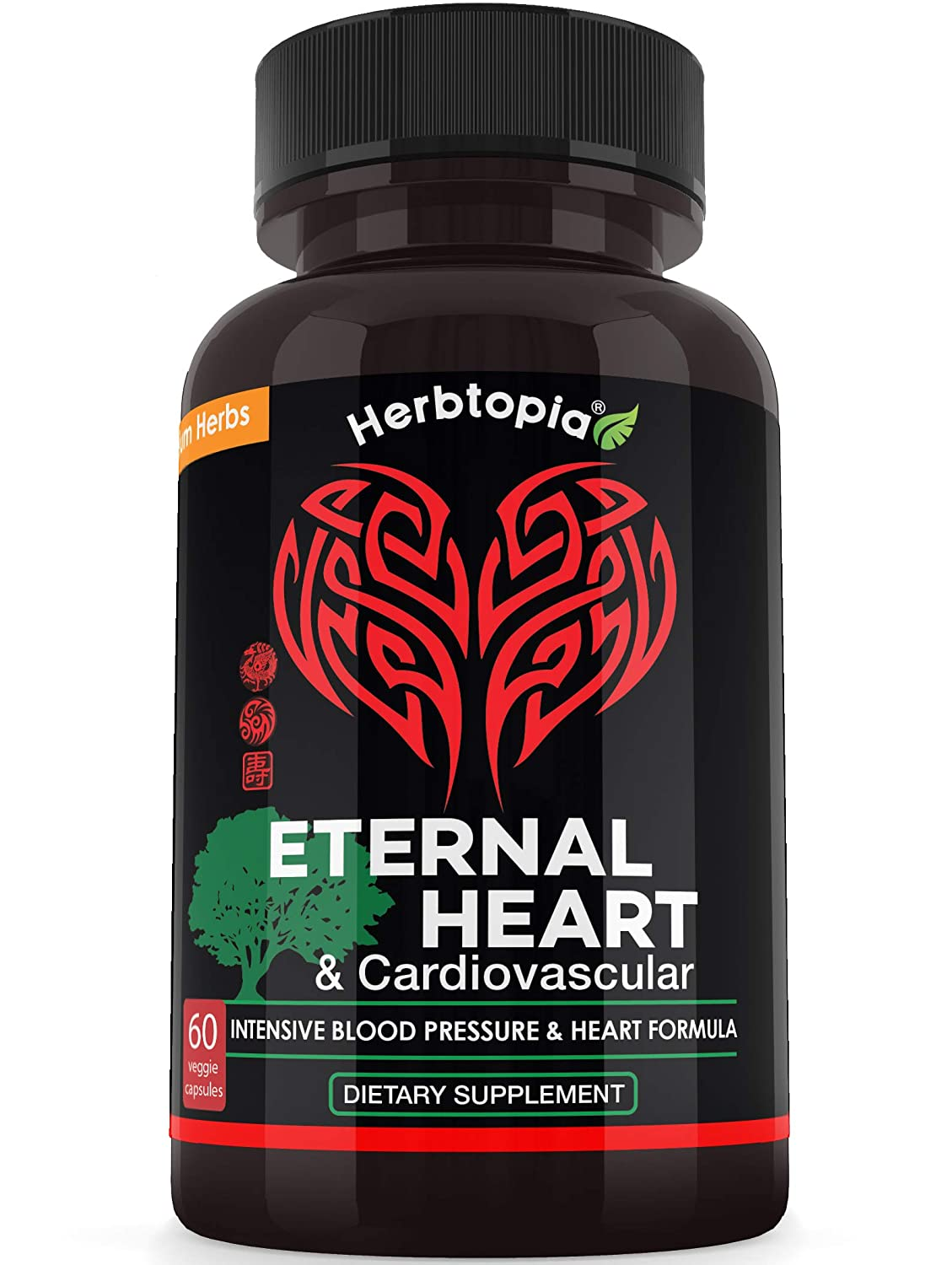 Eternal Heart High Blood Pressure Supplement – Extra Strength Formula to Lower BP Naturally, Boost Blood Flow, Cholesterol Lowering w CoQ10, Vitamin K2 MK7, Dan-Shen, Hawthorn, Olive Leaf
