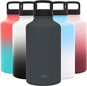 Simple Modern 64 Ounce Summit Water Bottle - Large Stainless Steel Half Gallon Flask +2 Lids - Wide Mouth Double Wall Vacuum Insulated Orange Leakproof -Graphite