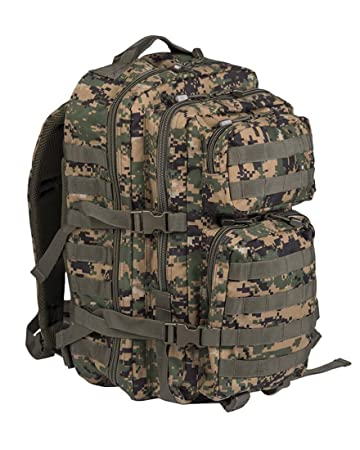 Mil-Tec Military Army Patrol Molle Assault Pack Tactical Combat Rucksack Backpack Bag 36L MARPAT Digital Woodland Camo