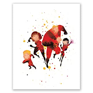 The Incredibles Poster – Kids Nursery Wall Art Print – Mr Incredible Elastigirl Dash Violet Parr Jack – Boy Girl Room Décor – Party Supplies Decorations – Birthday (8x10)