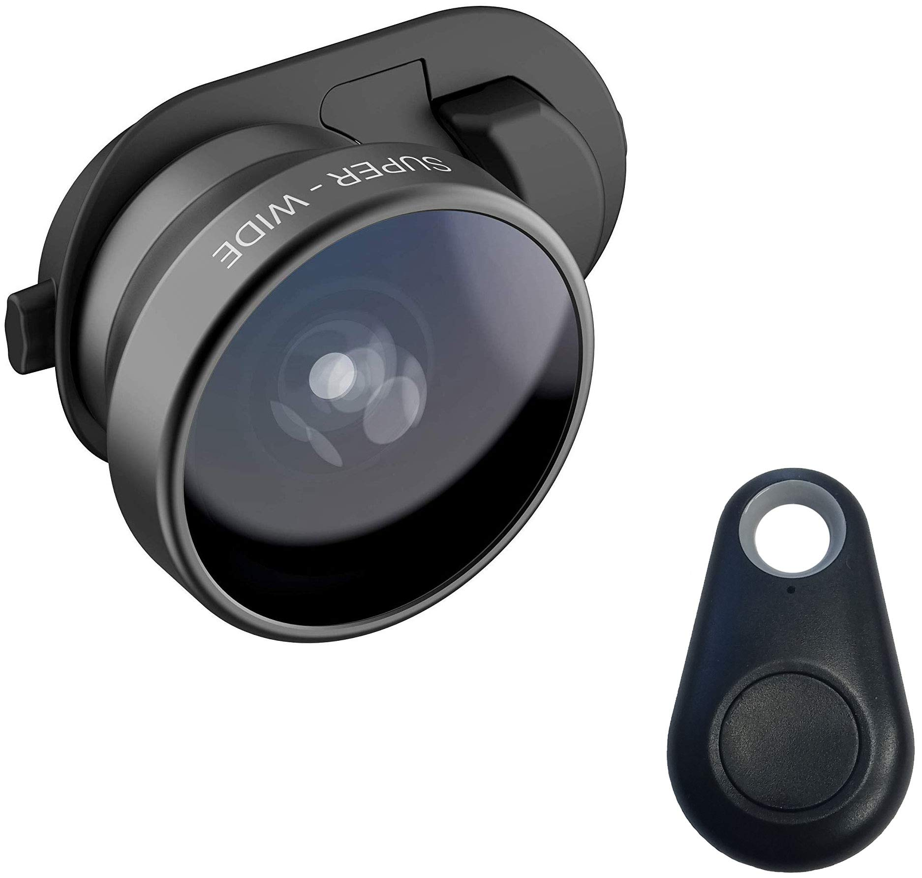 olloclip Multi-Device Clip with 3-in-1 Essential Lens Kit Includes Fisheye + Super Wide Angle + Macro - Compatible with iPhone, Pixel and Samsung Galaxy Smartphones + Selfie Bluetooth Remote Shutter by olloclip