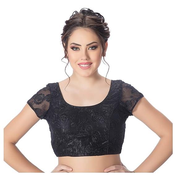 2e0dd29eb0d59 Rinkoo Womens Back Open Art Silk Bright Black Net Short Net Sleeves Princess  Cut Padded ReadymadeSaree