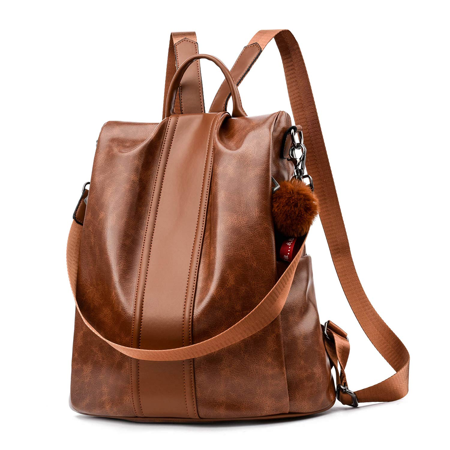 Women Backpack Purse PU Leather Anti-theft Backpack Casual Satchel School Shoulder Bag for Girls (Tan Large)