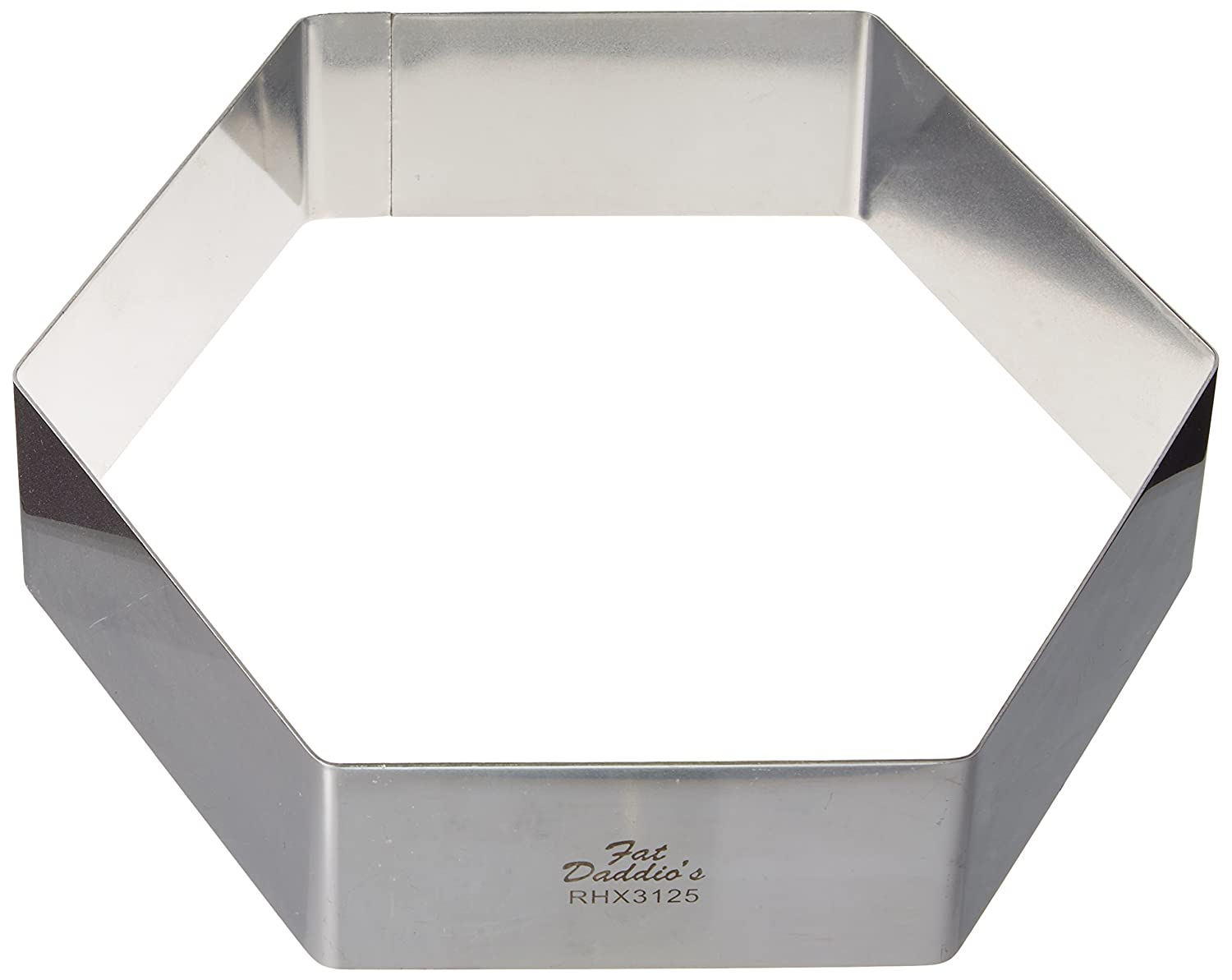 Fat Daddio's Stainless Steel Hexagon Cake and Pastry Ring, 2.125 Inch x 1.25 Inch Fat Daddio's RHX-3113