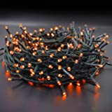 Twinkle Star 66ft 200 LED Halloween String Lights UL Safe Certified Outdoor Fairy Lights Plug in, Expandable Green Wire…