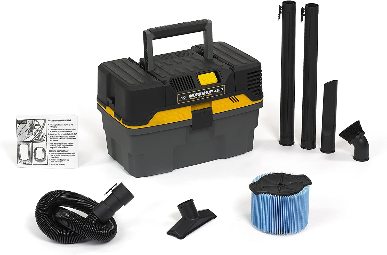WORKSHOP Wet Dry Vac WS0450VA Compact and Portable Wet Dry Vacuum Cleaner for Cars and Contractors, 4.5-Gallon Wet Dry Auto Vacuum Cleaner, 5.0 Peak HP Shop Vacuum Cleaner