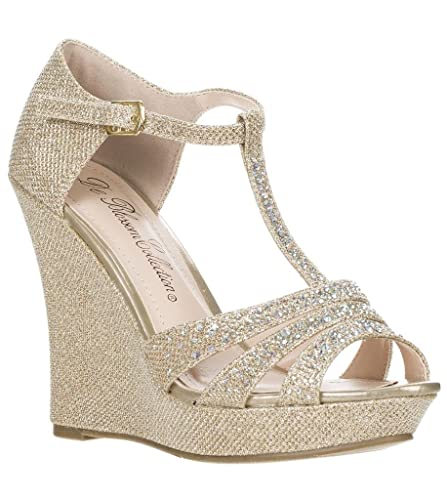 822c86245c6 DeBlossom Womens Dressy Glitter Rhinestone T Strap Platform Wedge Sandal  Aalle-2