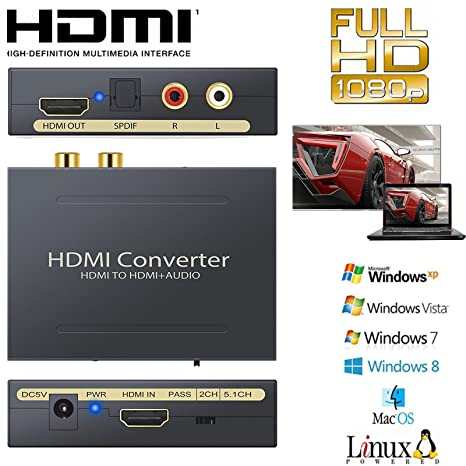 Kvm-switches Audio Extractor Durable Splitter High Definition Multimedia Interface 3 In 1 Out Audio Extractor 4 K 60hz