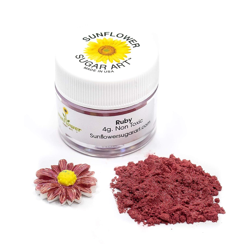 Ruby Edible Luster Dust | Edible Powder & Dust | Food Grade Luster Dust for Decorating, Fondant, Baking | Polvo Matizador | Cakes, Vegan Paint, & Dust | Sunflower Sugar Art