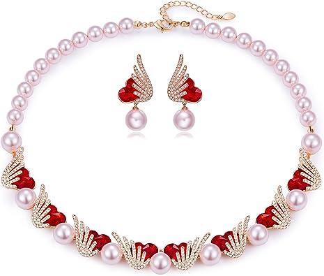 Women jewellery set valentine gift for girlfriend wife pearl necklace earrings