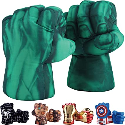 1set of 2 Marvel Green Hulk Plush Punching Boxing Glove Hands Gift Toy Accessory