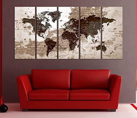 Amazon.com: Large Push pin World Map Art Canvas print, Push ...