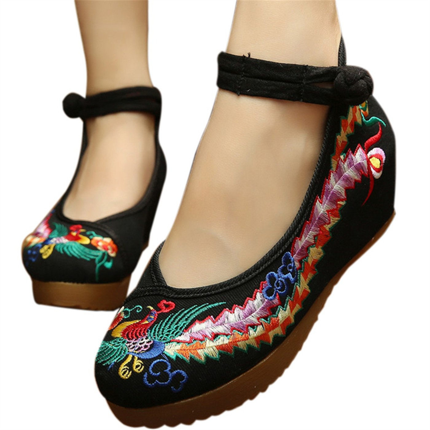 Qhome Women's Chinese Phoenix Embroidered Oxfords Rubber Sole Cheongsam Shoes Black 40 M EU