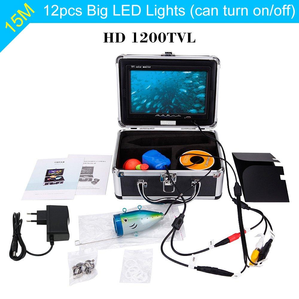 Fluss Angeln mit 7 Zoll LCD Monitor KKmoon Fischfinder Kamera 15M Unterwasser HD 1200TVL f/ür Eis Sea