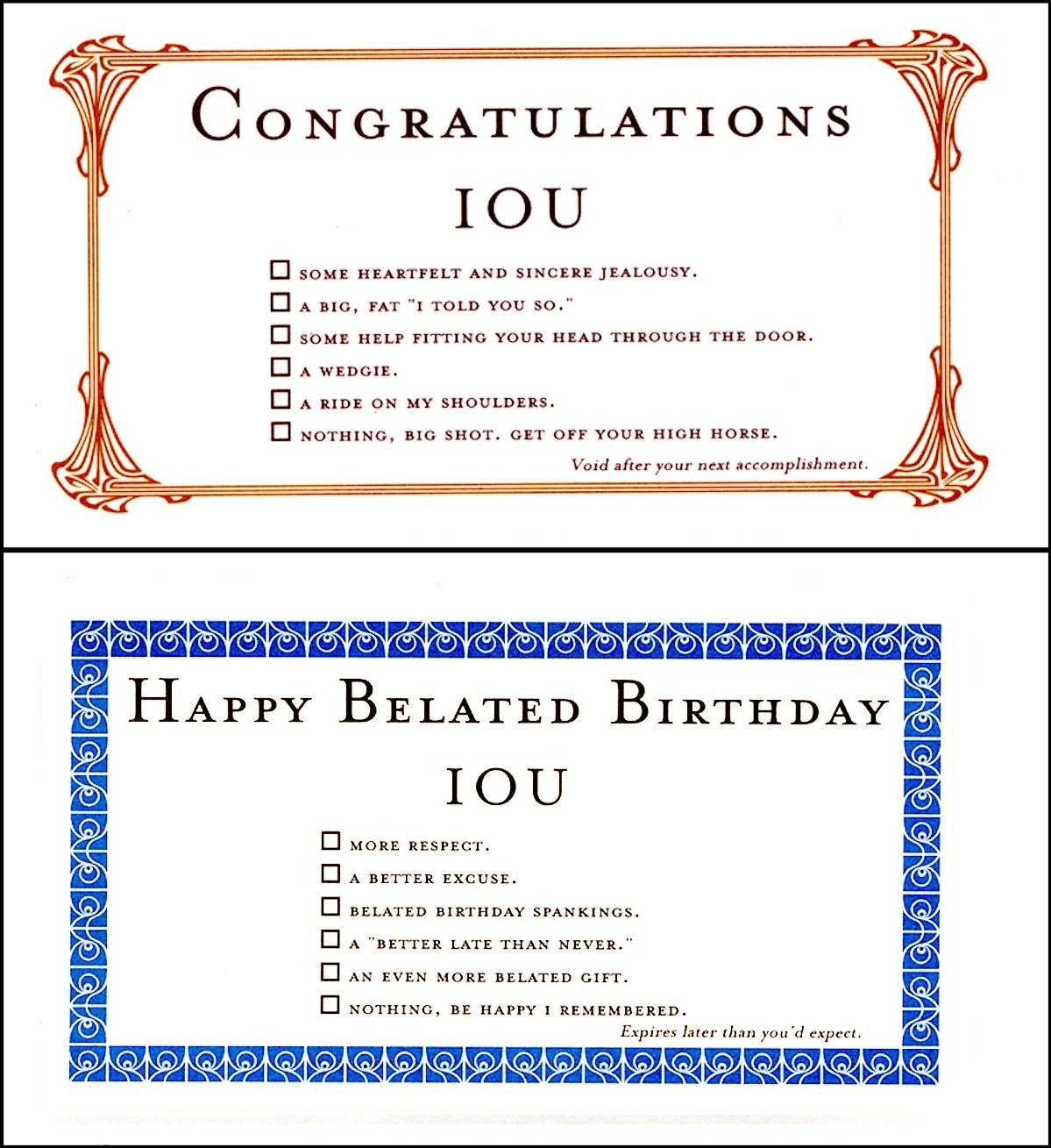 Amazon Quiplip Belated Birthdays Iou Congrats 6 Cards Greeting