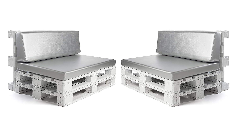 Conjunto colchonetas para sofas de palet y respaldos (2 x Unidades) Cojin relleno con espuma. Color Gris Plata | Cojines para chill out, interior y ...