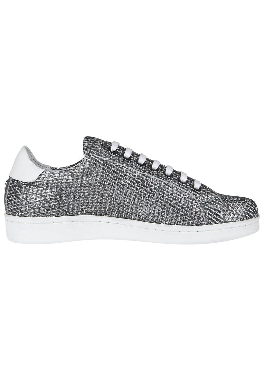 Maruti Damen Sneaker Nena Small Diamond Strukturiertes Leder Silver mit Rautenmuster Weiß + Silver Leder 38fd5f