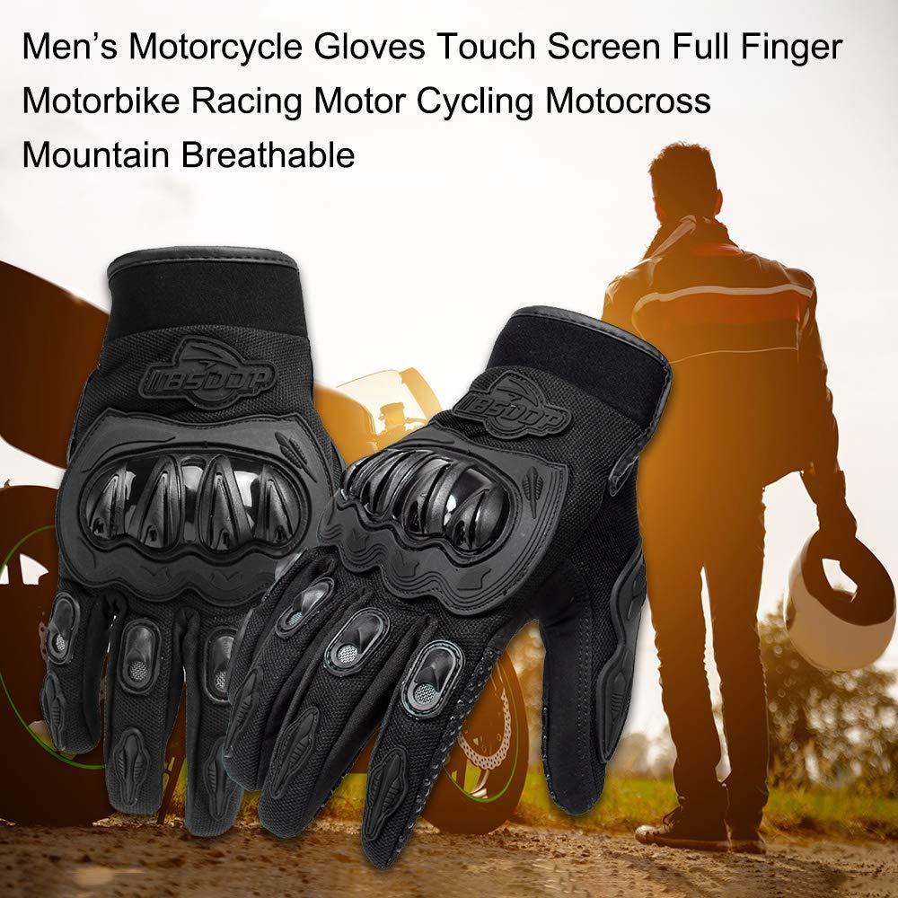 Carrfan Hombres Guantes de Motocicleta Pantalla T/áctil Dedo Completo Moto Carreras Ciclismo Motocross Monta/ña Respirable Blanco M//L//XL
