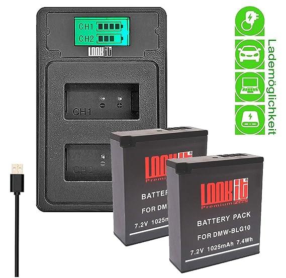 LOOKit- 2X Premium Batterie BLG10-1025mAh + LCD Double Chargeur compatible pour Panasonic LUMIX DC TZ200 TZ202 GX9 TZ90 TZ91 TZ100 TZ101 TZ80 TZ81 GX80