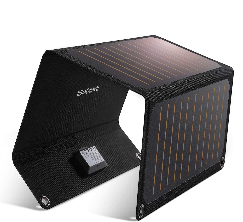 RAVPower - Cargador Solar de 21 W con Doble Puerto USB, Resistente al Agua, Plegable, Compatible con iPhone XS MAX XR X 8 7 Plus, iPad, Galaxy S9 S8 Edge Plus, Note,