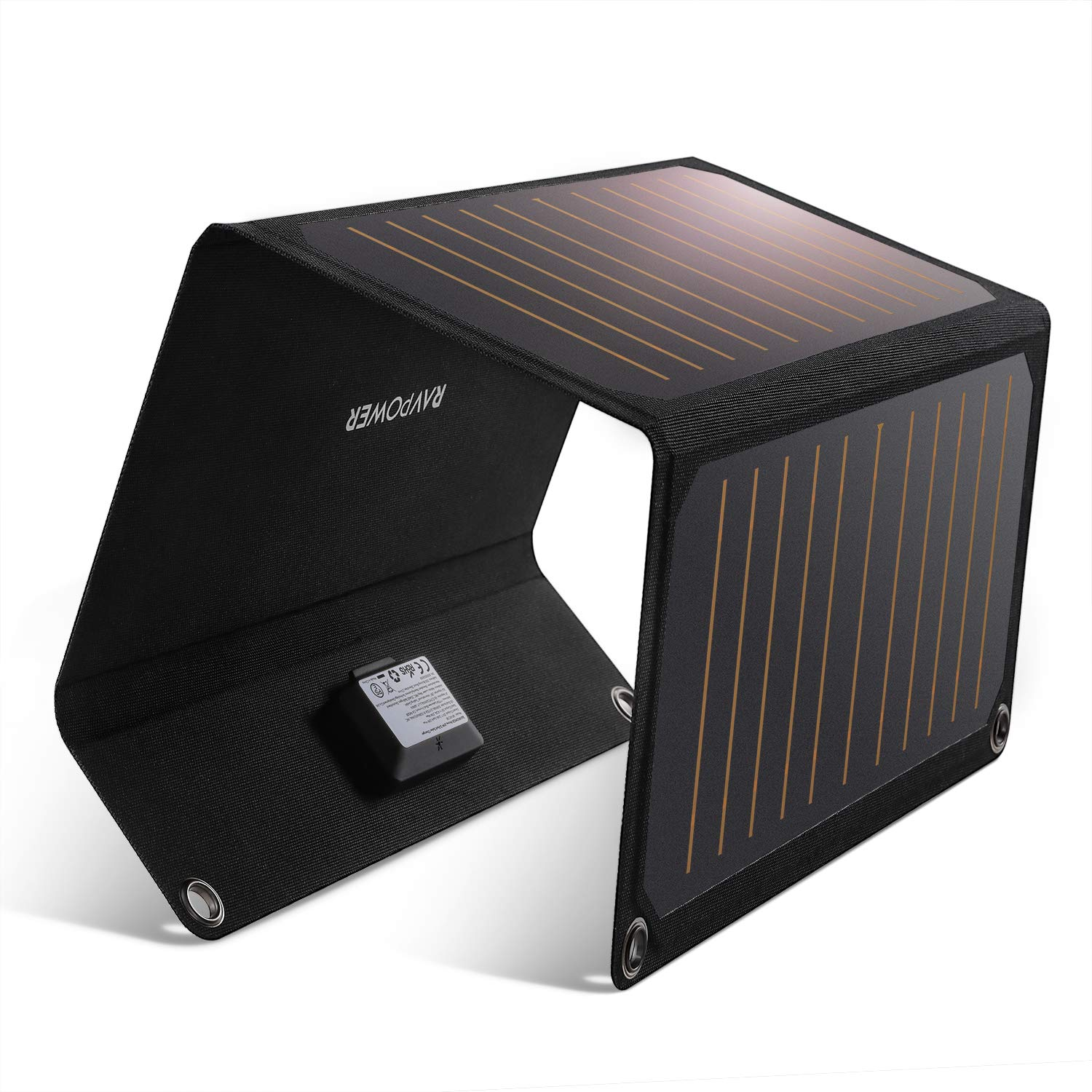 RAVPower Solar Charger 21W Solar Panel with Dual USB Port Waterproof Foldable Camping Travel Charger Compatible iPhone Xs XS Max XR X 8 7 Plus, iPad, Galaxy S9 S8 Edge Plus, Note, LG, Nexus and More