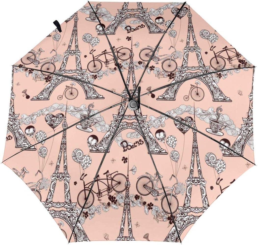 HanJD-JS Paris Tower Bicycle Automatic Folding Umbrella Tri-fold Windproof Clear Umbrella