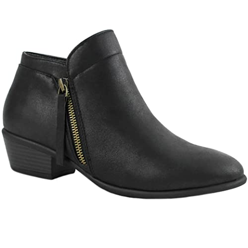 944e8b46181a ILLUDE Women s Low Heel Ankle Boots Booties Round Toe Zipper Casual Shoes  (6