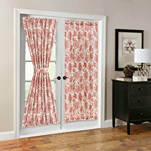 French Door Panel Curtains Paisley Scroll Printed Linen Textured French Door Curtain 72 inches Long French Door Panels for Glass Door Tieback Included 1 Panel Poppy Red