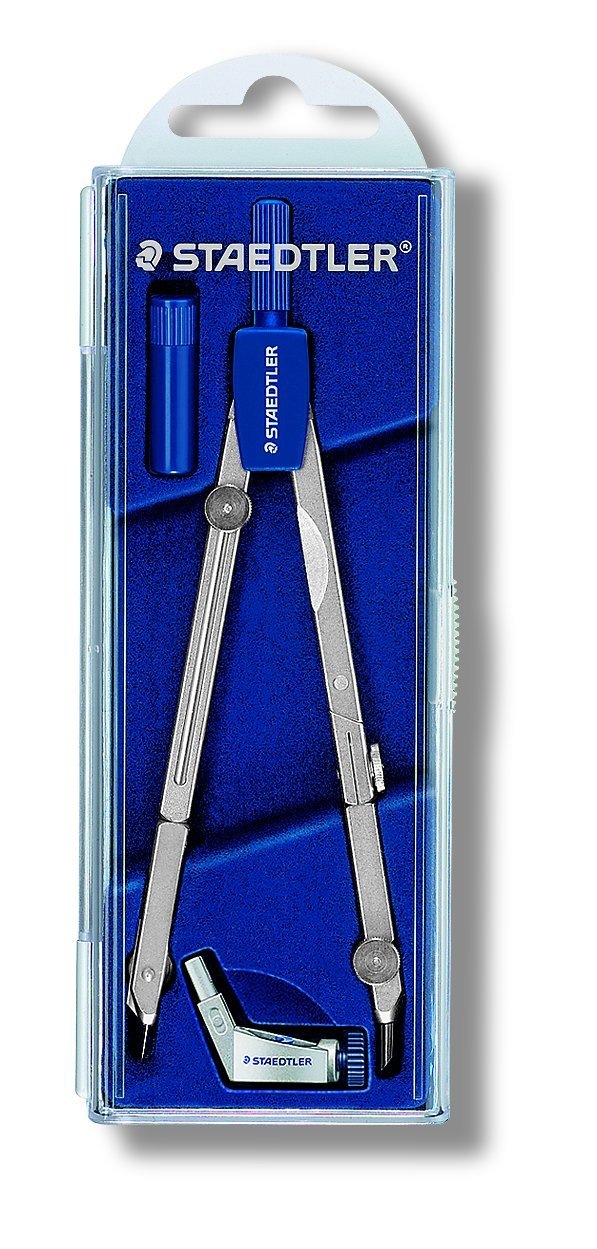Staedtler Mars Basic 554 T01 554 Precision Compass with Extender in Case with Hinged Lid Silver by Staedtler (Image #1)