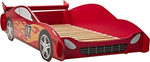 Legaré Furniture Children's Race Car Standard Bed Frame for Kids, Red and White, Twin Size