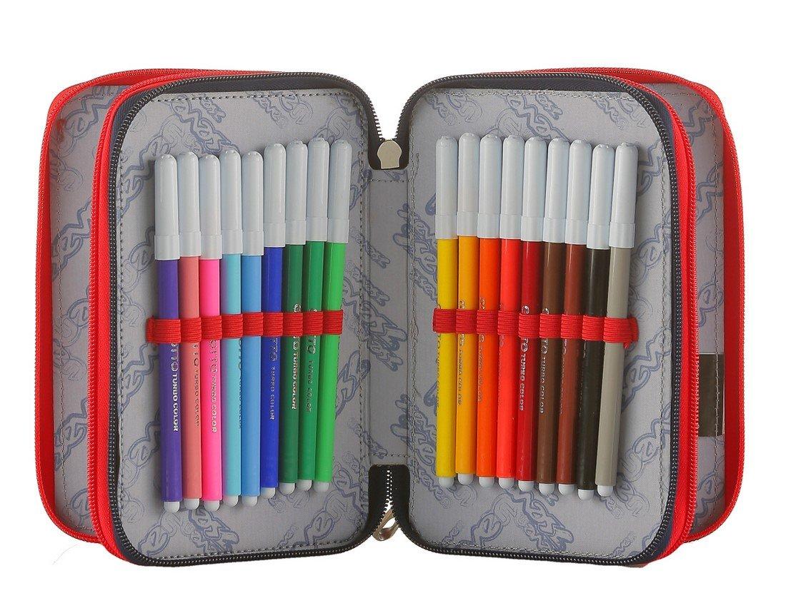 pennarelli matite gomma ecc. DICE BOY ASTUCCIO scuola SEVEN 3 scomparti Blu