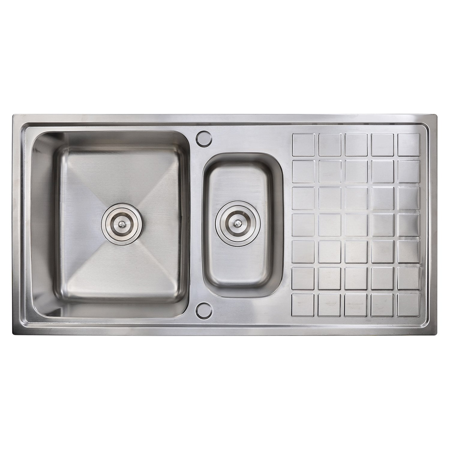 1.5 Bowl Kitchen Sink] Hapilife Square Brushed Stainless Steel ...